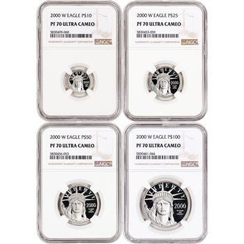 2000 W American Platinum Eagle Proof Four Coin Set NGC PF70 UCAM