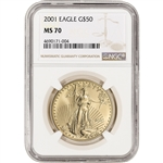2001 American Gold Eagle 1 oz $50 - NGC MS70