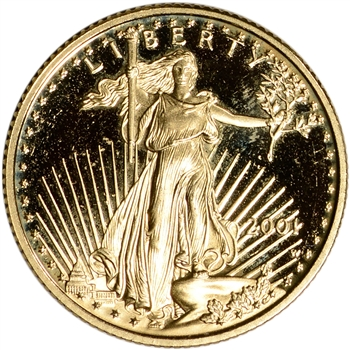 2001-W American Gold Eagle Proof 1/4 oz $10 - Coin in Capsule