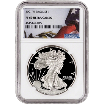 2001-W American Silver Eagle Proof - NGC PF69 UCAM - Flag Label