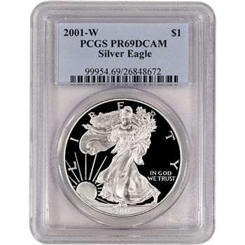 2001-W American Silver Eagle Proof - PCGS PR69 DCAM