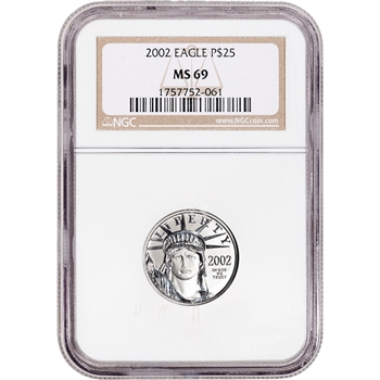 2002 American Platinum Eagle 1/4 oz $25 - NGC MS69