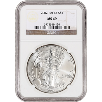 2002 American Silver Eagle - NGC MS69
