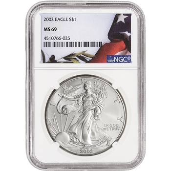2002 American Silver Eagle - NGC MS69 - Flag Label