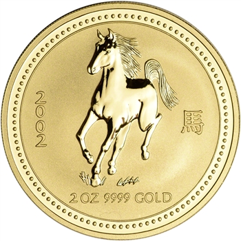 2002 Australia Gold Lunar Series I Year of the Horse 2 oz $200 - BU