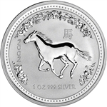 2002 Australia Silver Lunar Series I Year of the Horse 1 oz $1 - BU