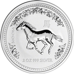 2002 Australia Silver Lunar Series I Year of the Horse 2 oz $2 - BU