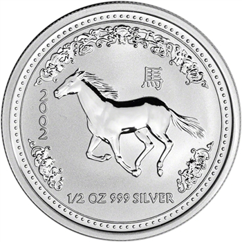2002 Australia Silver Lunar Series I Year of the Horse 1/2 oz 50C - BU