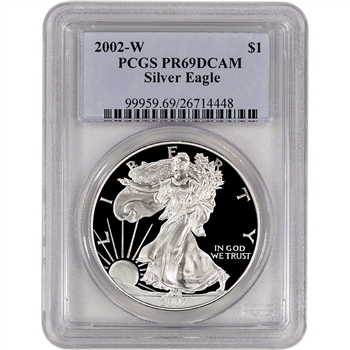 2002-W American Silver Eagle Proof - PCGS PR69 DCAM
