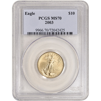 2003 American Gold Eagle 1/4 oz $10 - PCGS MS70