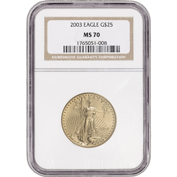 2003 American Gold Eagle (1/2 oz) $25 - NGC MS70 - Non Edge-View Holder
