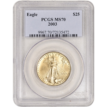 2003 American Gold Eagle 1/2 oz $25 - PCGS MS70