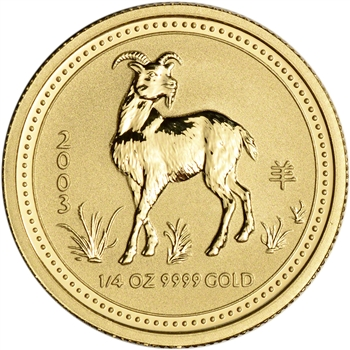 2003 Australia Gold Lunar Series I Year of the Goat 1/4 oz $25 - BU