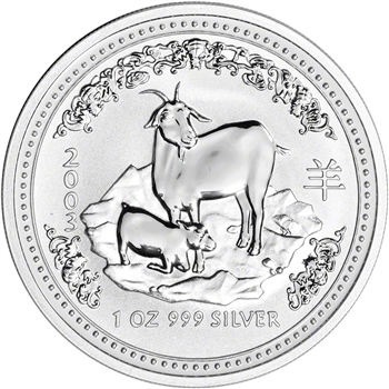 2003 Australia Silver Lunar Series I Year of the Goat 1 oz $1 - BU