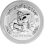 2003 Australia Silver Lunar Series I Year of the Goat 2 oz $2 - BU
