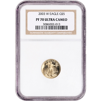 2003-W American Gold Eagle Proof 1/10 oz $5 - NGC PF70 UCAM