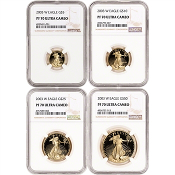 2003-W American Gold Eagle Proof 4-pc Year Set - NGC PF70 UCAM