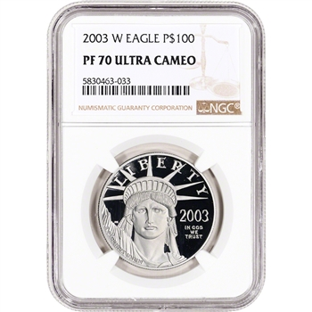 2003 W American Platinum Eagle Proof 1 oz $100 - NGC PF70 UCAM
