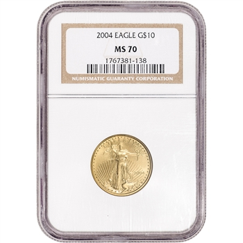 2004 American Gold Eagle 1/4 oz $10 - NGC MS70