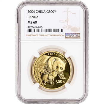 2004 China Gold Panda 1 oz 500 Yuan - NGC MS69
