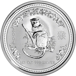 2004 Australia Silver Lunar Series I Year of the Monkey 1/2 oz 50C - BU