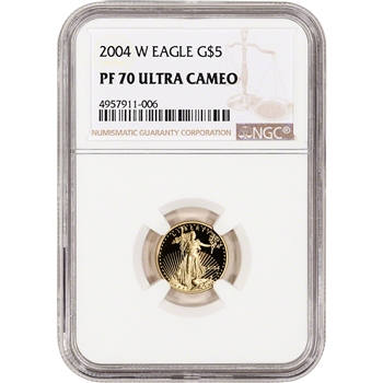 2004-W American Gold Eagle Proof 1/10 oz $5 - NGC PF70 UCAM