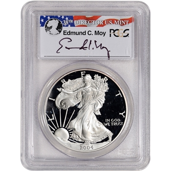 2004-W American Silver Eagle Proof - PCGS PR69 DCAM Moy Signed