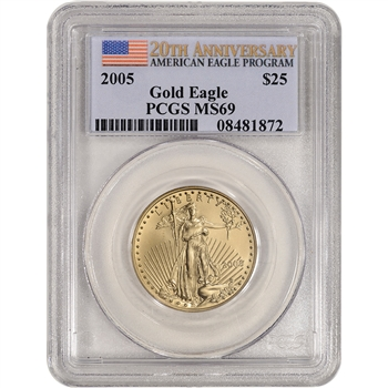 2005 American Gold Eagle 1/2 oz $25 - PCGS MS69 20th Anniversary Label