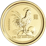 2005 Australia Gold Lunar Series I Year of the Rooster 1/10 oz $15 - BU