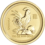 2005 Australia Gold Lunar Series I Year of the Rooster 1/20 oz $5 - BU