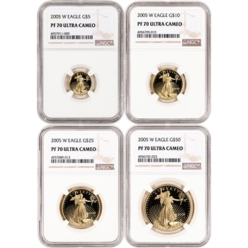 2005-W American Gold Eagle Proof 4-pc Year Set - NGC PF70 UCAM