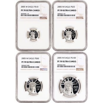 2005 W American Platinum Eagle Proof Four Coin Set NGC PF70 UCAM