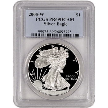 2005-W American Silver Eagle Proof - PCGS PR69 DCAM
