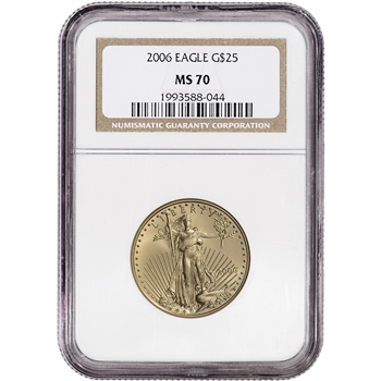 2006 American Gold Eagle (1/2 oz) $25 - NGC MS70 - Non Edge-View Holder