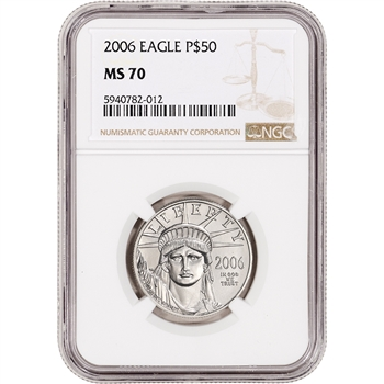2006 American Platinum Eagle 1/2 oz $50 - NGC MS70