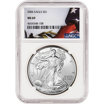 2006 American Silver Eagle - NGC MS69 - Flag Label