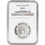 2006-W American Platinum Eagle Burnished - 1/2 oz - $50 - PCGS MS70
