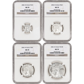 2006-W American Platinum Eagle Burnished - 4-pc Year Set - NGC MS70