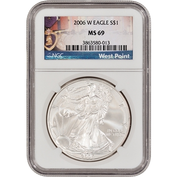 2006-W American Silver Eagle Uncirculated Burnished - NGC MS69 West Point Medals