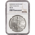 2006-W American Silver Eagle Burnished - NGC MS70 - Large Label