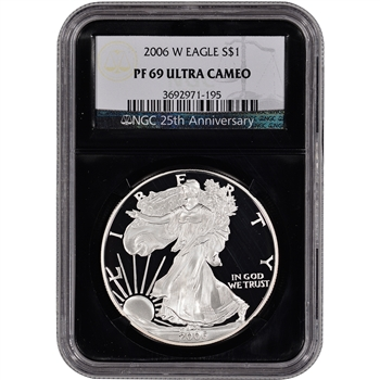 2006-W American Silver Eagle Proof - NGC PF69UCAM - 'Retro' Black Core