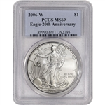 2006-W American Silver Eagle Uncirculated Burnished - PCGS MS69