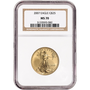 2007 American Gold Eagle 1/2 oz $25 - NGC MS70