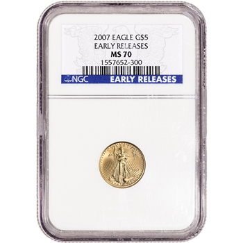 2007 American Gold Eagle 1/10 oz $5 - NGC MS70 - Early Releases