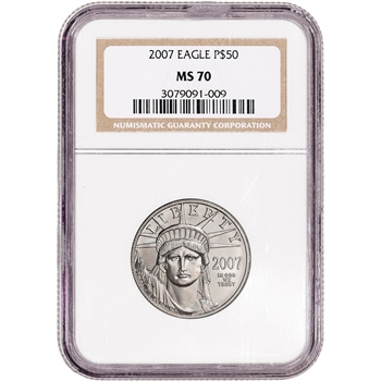 2007 American Platinum Eagle 1/2 oz $50 - NGC MS70