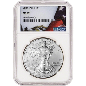 2007 American Silver Eagle - NGC MS69 - Flag Label