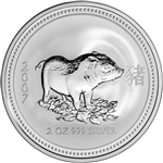 2007 Australia Silver Lunar Series I Year of the Pig 2 oz $2 - BU
