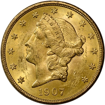 1907 US Gold $20 Liberty Head Double Eagle - CH BU - 0.9675 oz.