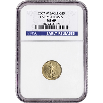 2007-W American Gold Eagle Burnished 1/10 oz $5 - NGC MS69 Early Releases