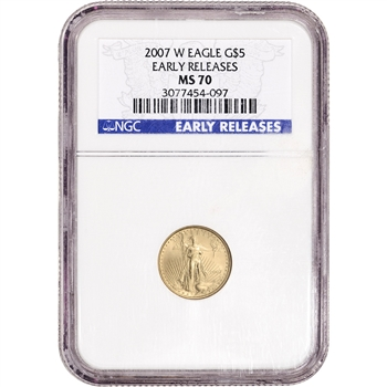 2007-W American Gold Eagle Burnished 1/10 oz $5 - NGC MS70 - Early Releases